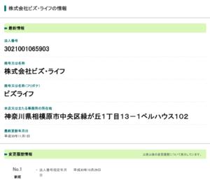 国税庁登録済:株式会社ビズ・ライフ